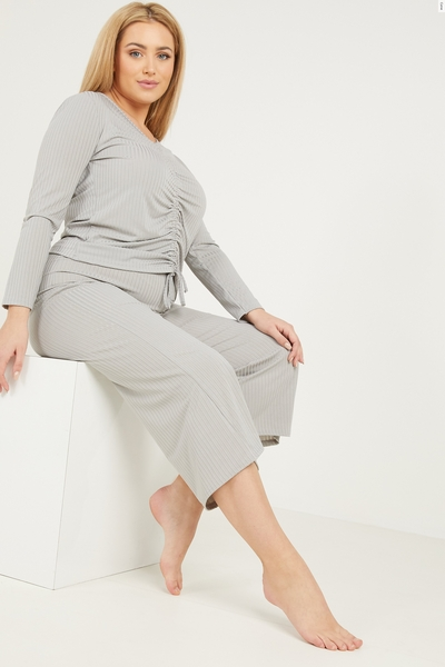 Curve Grey Ruched Front Top